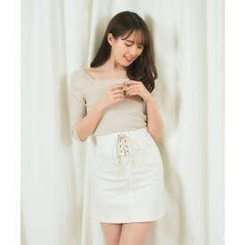 コルセット風デニムタイトスカート (オフホワイト)