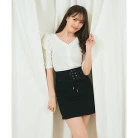 コルセット風デニムタイトスカート (ブラック)