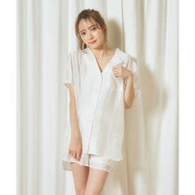シアーシャツ×ショートパンツセット (オフホワイト)