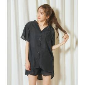 シアーシャツ×ショートパンツセット (ブラック)
