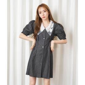 衿刺繍デニムワンピース (ブラック)