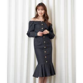 ビジュー付デニムマーメイドスカート (ブラック)