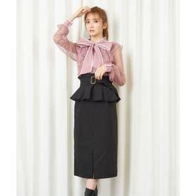 コルセットベルト付きタイトスカート (ブラック)