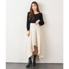 ツィードアシメマーメイドスカート (オフホワイト)