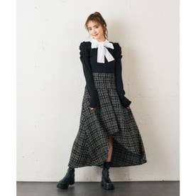 ツィードアシメマーメイドスカート (ブラック)
