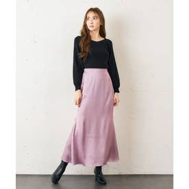 サテンタイトスカート (ピンク)