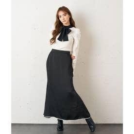 サテンタイトスカート (ブラック)