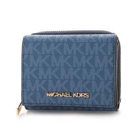 三つ折り財布 (ブルー)