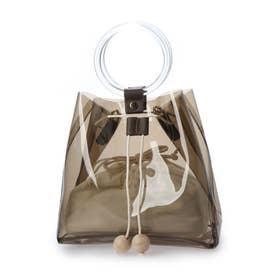 リングハンドルクリア巾着バッグ<インナー巾着&ショルダーストラップ付き>(289722) (グレークリア)