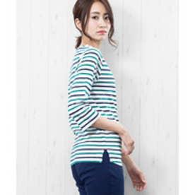 7分袖袖シャンブレー切替Tシャツ (白x緑x紺)