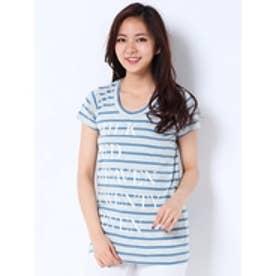 ブランドロゴプリントTシャツ (BLUE)