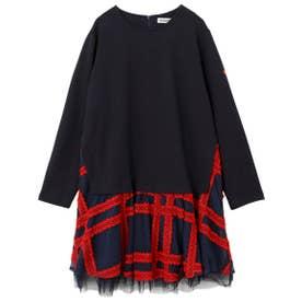 PLAID TULLE DRESS (ネイビー)