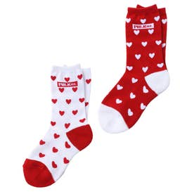 BAR AND HEART PATTERN SOCKS SET (RED)