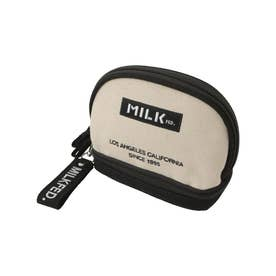 EMBROIDERED BAR COSMETIC POUCH (WHITE)