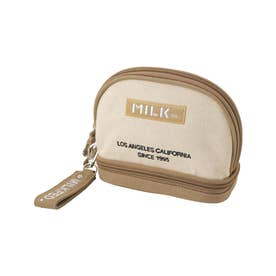 EMBROIDERED BAR COSMETIC POUCH (BEIGE)