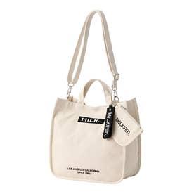 EMBROIDERED BAR SHOULDER BAG W/STRAP (WHITE)