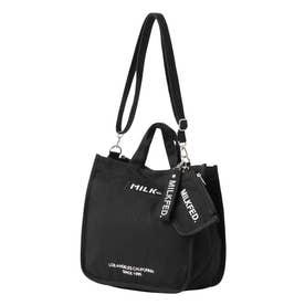 EMBROIDERED BAR SHOULDER BAG W/STRAP (BLACK)