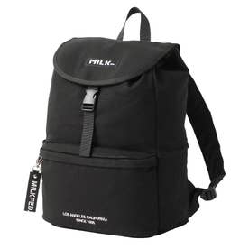 EMBROIDERED BAR CANVAS FLAP BACKPACK (BLACK)