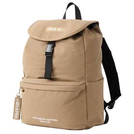EMBROIDERED BAR CANVAS FLAP BACKPACK (BEIGE)