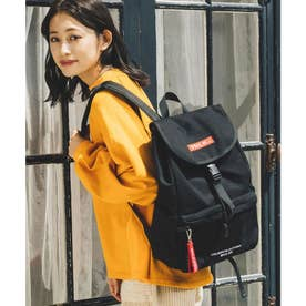 EMBROIDERED BAR CANVAS FLAP BACKPACK (RED)