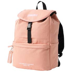 EMBROIDERED BAR CANVAS FLAP BACKPACK (PINK)