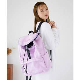 EMBROIDERED BAR CANVAS FLAP BACKPACK (LtPINK)