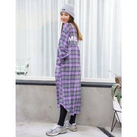BACK LOGO PLAID DRESS (PURPLE)