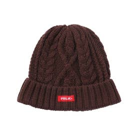 LOGO CABLE KNIT CAP (BROWN)