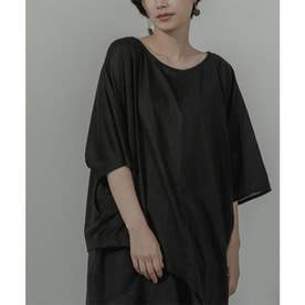 異素材MIXアシメドレープTシャツ (ブラック)