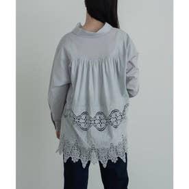 バックギャザー刺繍レースシャツ (アイスグレー)