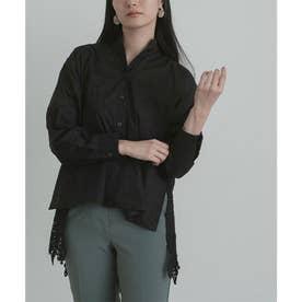 バックギャザー刺繍レースシャツ (ブラック)