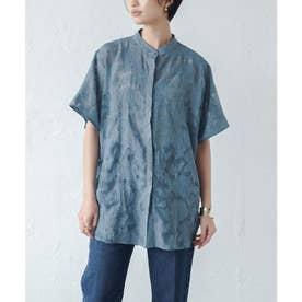 フラワーシアーバンドカラーシャツ (ブルー)