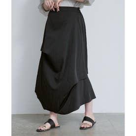 アシンメトリードレープ変形スカート (ブラック)