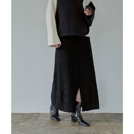 前後2wayウェーブ編みニットスカート (ブラック)