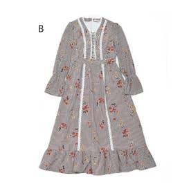 ラ・フィーユ dress (ブラウンチェックフラワー)