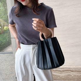 プリーツバッグ 2way鞄 ショルダーバッグ (ブラック)