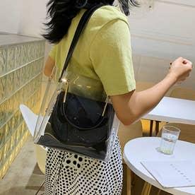 PVCバッグ 透明 トートバッグ オシャレ (ブラック)