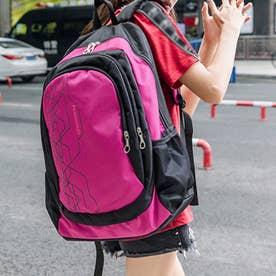 リュックサック 大容量 ユニセックス 鞄 (ホットピンク)