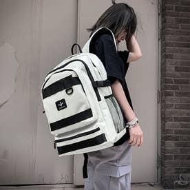 リュックサック 大容量 男女兼用 バックパック 韓国 ファッション 大きめ デイパック アウトドア シンプル カジュアル バッグ 旅行 (アイボリー)