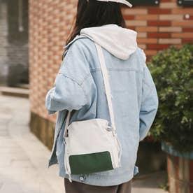 キャンバスバッグ レディース 大人 巾着かばん 小さめ 肩掛けバッグ 無地 軽量 ショルダーバッグ (グリーン)