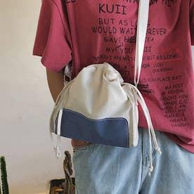 キャンバスバッグ レディース 大人 巾着かばん 小さめ 肩掛けバッグ 無地 軽量 ショルダーバッグ (ブルー)