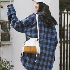 キャンバスバッグ レディース 大人 巾着かばん 小さめ 肩掛けバッグ 無地 軽量 ショルダーバッグ (キャメル)