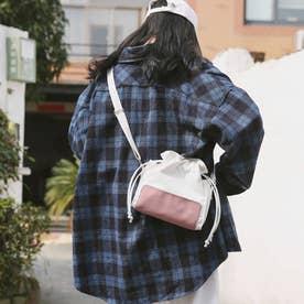 キャンバスバッグ レディース 大人 巾着かばん 小さめ 肩掛けバッグ 無地 軽量 ショルダーバッグ (ピンク)