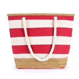 キャンバスバッグ おしゃれ バッグ 大容量 軽量 異素材 万能バッグ トートバッグ ポケット 付き (レッド)