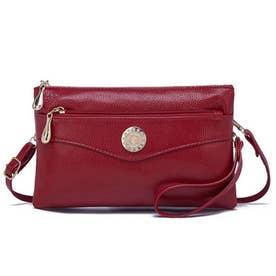 手持ちバッグ レディース 斜め掛けバッグ 財布 ショルダーバッグ 3way ハンドバッグ (ワインレッド)