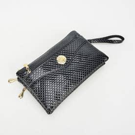 手持ちバッグ レディース 斜め掛けバッグ 財布 ショルダーバッグ 3way ハンドバッグ (ブラック(格子柄型押し加工))