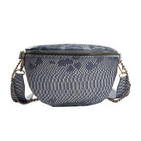 ウエストバッグ レディース ウエストポーチ ボディバッグ ミニ チェーンバッグ へビ柄 PUレザー 鞄 (ブルー)