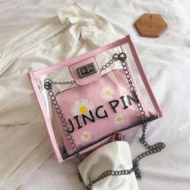 クリアバッグ ポーチ付き レディース ショルダーバッグ 透明 チェーンバッグ スクエアビニールバッグ バッグinバッグ (ピンク)