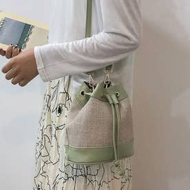 巾着型 かごバッグ レディース ショルダーバッグ 春夏 ストローバッグ 小さめ 斜め掛けバッグ おしゃれ 2wayバッグ (ミントグリーン)