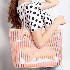 トートバッグ A4 PVCバッグ 鞄 ポーチ付き (ピンク)